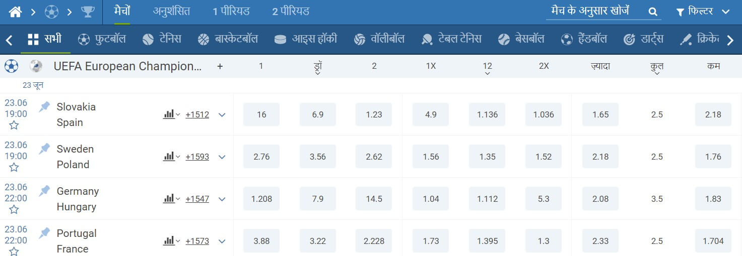 1xbet india betting markets