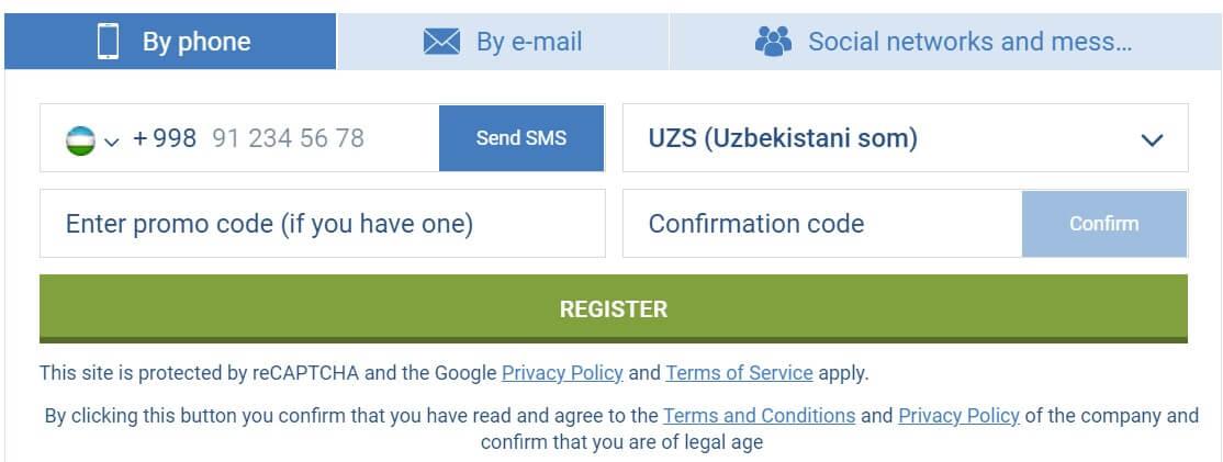 1xbet uzbekistan registration process