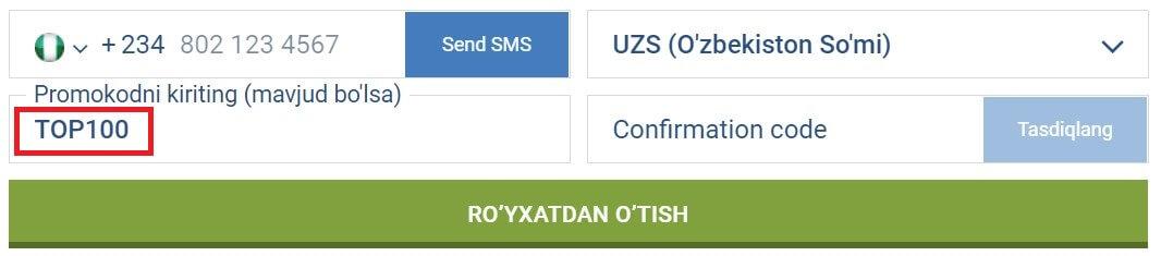 1xbet uzbekistan promo code